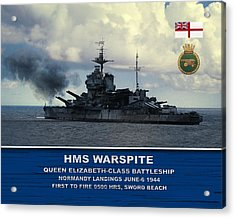 Acrylic Print featuring the digital art Hms Warspite by John Wills