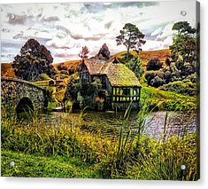 Hobbiton Mill And Bridge Acrylic Print by Kathy Kelly