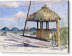 Hobie And Tiki On Crescent Beach Acrylic Print by Shawn McLoughlin