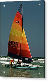 Acrylic Print featuring the photograph Hobie Cat In Surf by Sally Weigand