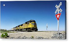 Caution Do Not Stop On Tracks Acrylic Print
