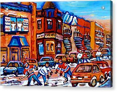 Hockey At Fairmount Bagel Acrylic Print by Carole Spandau