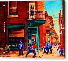 Hockey At Wilenskys Corner Acrylic Print by Carole Spandau