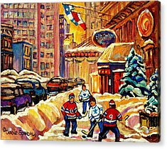 Hockey Fever Hits Montreal Bigtime Acrylic Print by Carole Spandau