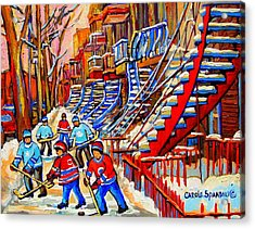Hockey Game Near The Red Staircase Acrylic Print