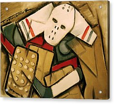 Synthetic Cubism Hockey Goalie Art Print Acrylic Print by Tommervik