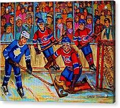 Hockey  Hero Acrylic Print by Carole Spandau