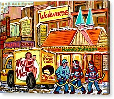 Hockey Game At Howard Johnson's Downtown Montreal Winter City Scene Montreal Memories Canadian Art  Acrylic Print