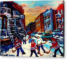 Hockey Paintings Of Montreal St Urbain Street City Scenes Acrylic Print by Carole Spandau