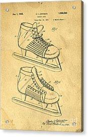 Hockey Skates Patent Art Blueprint Drawing Acrylic Print