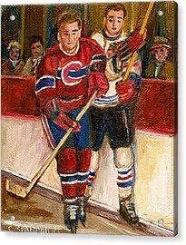 Hockey Stars At The Forum Acrylic Print by Carole Spandau
