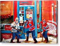 Hockey Sticks In Action Acrylic Print by Carole Spandau