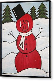 Hog Snowman Acrylic Print by Amy Parker