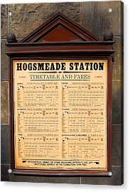 Acrylic Print featuring the photograph Hogsmeade Station Timetable by Juergen Weiss