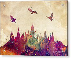 Hogwarts Castle Watercolor Art Print Acrylic Print by Svetla Tancheva