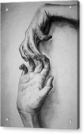 Acrylic Print featuring the drawing Hold On by Rachel Hames