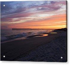 Acrylic Print featuring the photograph Holden Beach Pier by Alan Raasch