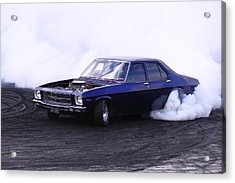 Holden Belmont With 454 Chev Doing A Burnout Acrylic Print by Stephen Athea