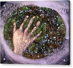 Holding Earth From The Series Our Book Of Common Faith Acrylic Print by Stephen Mead
