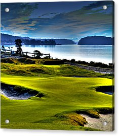 Hole #17 At Chambers Bay Acrylic Print by David Patterson