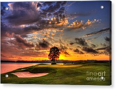 Hole In One Golf Sunset  Acrylic Print by Reid Callaway