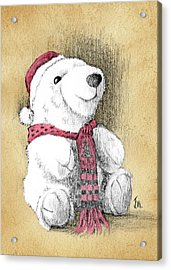 Acrylic Print featuring the drawing Holiday Bear Card by Joe Winkler