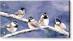 Holiday Chickadees Acrylic Print