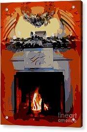 Holiday Fireplace #1 Acrylic Print by Ed Weidman