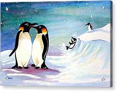 Holiday Penguins Acrylic Print