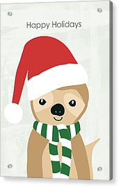 Holiday Sloth- Design By Linda Woods Acrylic Print by Linda Woods