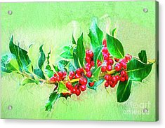 Acrylic Print featuring the photograph Holly Berries Photo Art by Sharon Talson