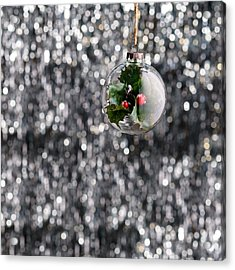Acrylic Print featuring the photograph Holly Christmas Bauble  by Ulrich Schade