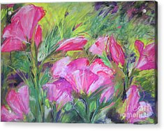 Acrylic Print featuring the painting Hollyhock Breeze by Susan Herbst