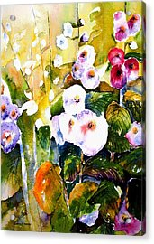 Acrylic Print featuring the painting Hollyhock Garden 1 by Marti Green