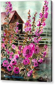 Hollyhocks And Barn Acrylic Print by George Markiewicz