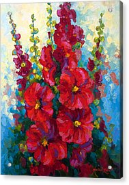 Hollyhocks Acrylic Print by Marion Rose