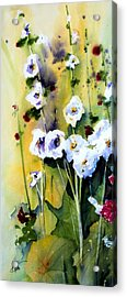 Acrylic Print featuring the painting Hollyhocks by Marti Green