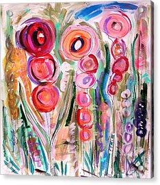Hollyhocks Of The Garden Acrylic Print by Mary Carol Williams