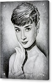 Hollywood Greats Audrey Hepburn Acrylic Print by Andrew Read
