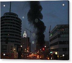 Hollywood Is Burning Acrylic Print by Roman Lezo