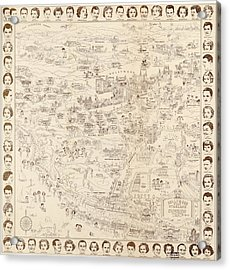 Hollywood Map To The Stars 1937 Acrylic Print