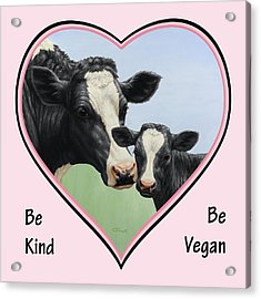 Holstein Cow And Calf Pink Heart Vegan Acrylic Print by Crista Forest