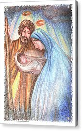 Holy Family - Christian - Catholic Painting Acrylic Print by Remy Francis