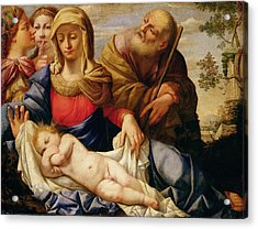 Holy Family With Two Female Figures Acrylic Print by Il Sassoferrrato
