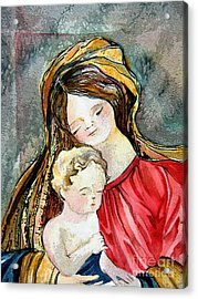 Holy Mother And Child Acrylic Print by Mindy Newman