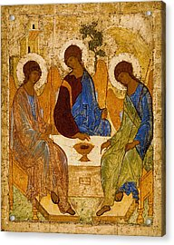 Acrylic Print featuring the painting Holy Trinity. Troitsa by Andrei Rublev