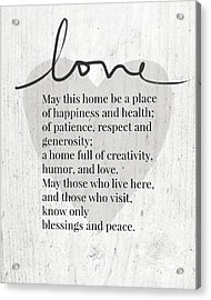 Home Blessing Rustic- Art By Linda Woods Acrylic Print