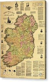 Home Rule Map Of Ireland, 1893 Acrylic Print by Irish School