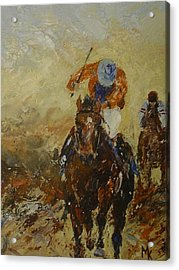 Home Straight Acrylic Print by Margaret Kent
