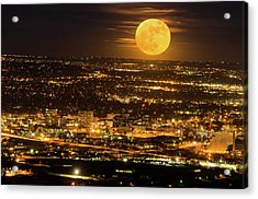 Home Sweet Hometown Bathed In The Glow Of The Super Moon  Acrylic Print by Bijan Pirnia